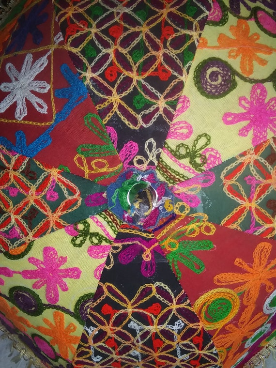 Fabulous, handmade, embroidered umbrella. Fabric.