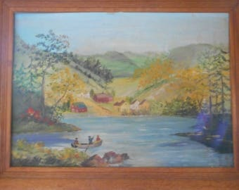 lovely old painting, fishermen in boat