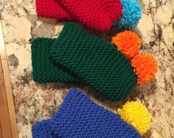 pom pom slippers, winter sock crochet slippers w pom-pom or flower, slipper socks for cozy home warmth, NB to adult sizes