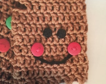 gingerbread fingerless gloves, gingerbread or snowman fingerless gloves, crochet fingerless gloves, kids novelty fingerless gloves