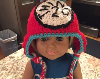 fits like American Girl Dr Seuss thing 1 hat with earflap and braids, AG thing 1 or 2 hat with or without braids