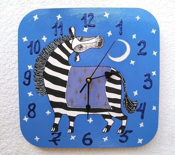 Zebra Wall Decor, Children Room Art, Blue Wall Clock, Bedtime Decor,  Bedroom Clock, Painting on Wood, Children\'s Clock, Wooden Wall Clock