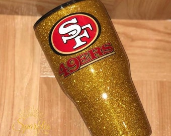 yeti san francisco 49ers gold glitter cup sports cup football 49ers personalized tumbler birthday gift holiday gift christmas present