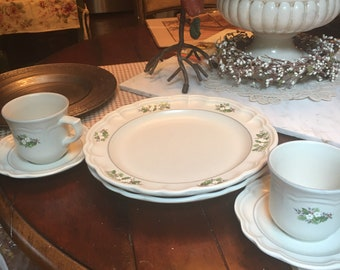 Pfaltzgraff Remembrance heirloom  9 Stoneware Dinner Plates with Floral Motifs Designs Vintage Collectible