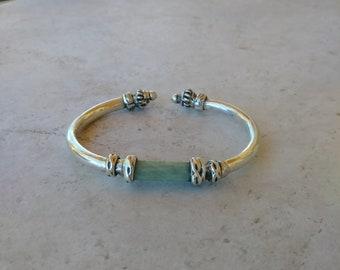 3a2b5e9614a Sterling Silver Jade cuff Bracelet, Jade cuff, Green Jade, Unisex cuff  bracelet, Silver Bangle cuff,
