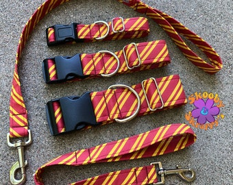 Harry Potter Hogwarts House Stripes Fabric Dog Collar or Leash YOU PICK COLORS