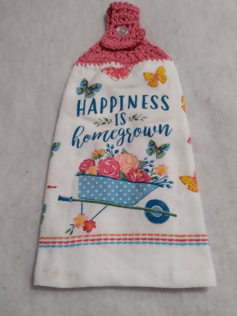 Full Crochet Kitchen Towels Farmhouse Towel Sunflower towels Butterfly Kitchen Towels Spring Towels