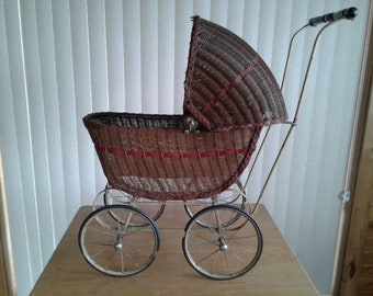 Large Wicker Doll Carriage W/ Handle ** For Doll Or Floral Baby Carriages & Buggies