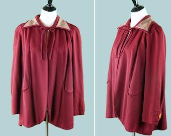 Late 1940s Swing Coat - Maroon Gabardine Wool - Swing Cape - Crescent Pockets - 40's Coat