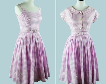1950s Purple Gingham Dress With Matching Belt And Bolero Jacket - 50s Day Dress With Gathered Skirt And Embroidery Detail