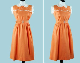 1940's Orange And White Day Dress - 40s Dress With Scalloped Bodice - Peter Pan Collar - Matching Mother Of Pearl Belt - Textured Cotton