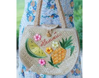 1950s 1960s Straw Raffia Hawaii Bag - 50s 60s Tropical Fruit Purse