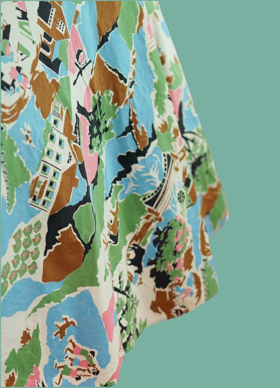 1950s Cotton Countryside Novelty Print Skirt - 50… - image 3