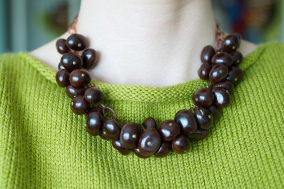 1940s Celluloid Chain Necklace With Brown Celluloi