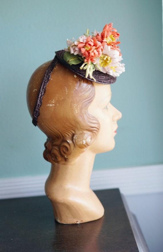 Lovely 1940s Floral Fascinator Topper Hat With O R