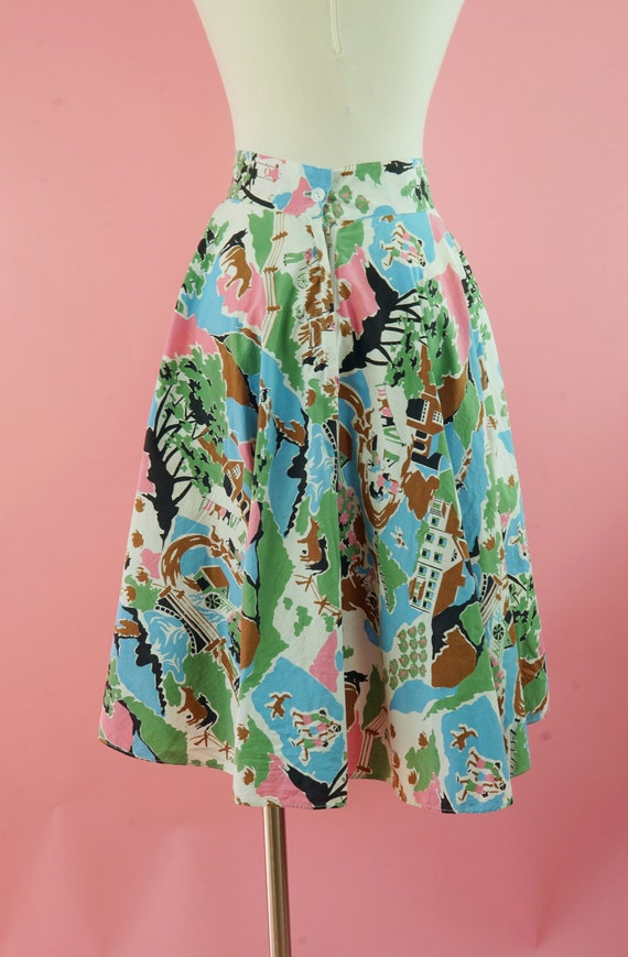 1950s Cotton Countryside Novelty Print Skirt - 50… - image 4