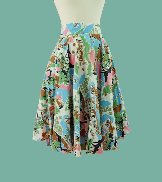1950s Cotton Countryside Novelty Print Skirt - 50s
