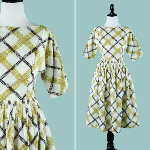 1950s Brushstroke Plaid Print Dress - 50s Dress Wi