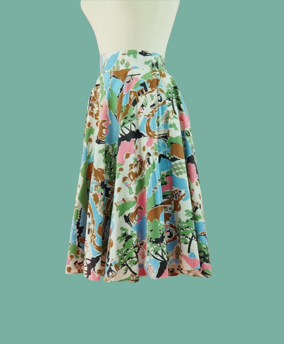 1950s Cotton Countryside Novelty Print Skirt - 50… - image 2