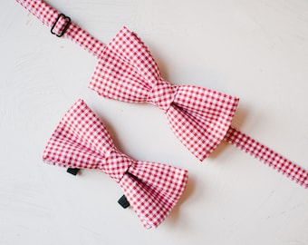 Red Gingham Bow Tie Set, Plaid Dog Bowtie, Matching Dog and Owner bowties, Men's bowtie, Wedding, Father's Day Gift, Dog Dad Gift