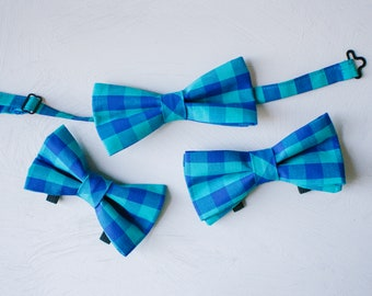 Plaid Bow Tie Set — Dog Bowtie, Matching Dog and Owner, Human, Wedding, Father's Day Gift, Dog Dad