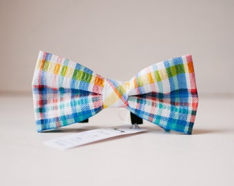 Preppy Plaid Summer Dog BowTie, Slip on bowtie for dogs, colorful plaid bowtie, Seersucker bowtie, gifts for dogs, dog collar bow
