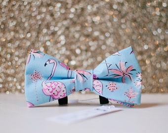 Summer Flamingo Dog BowTie, Slip on bowtie for dogs, Blue and pink bowtie, Tropical bowtie, gifts for dogs, dog collar bow