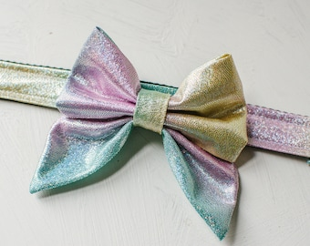 Mermaid bow dog collar, sparkle rainbow dog collar with bow, metallic holographic dog bow collar