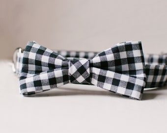 Plaid dog bowtie collar, 1-inch pet collar with with removable bowtie, black and white gingham bow-tie, Wedding dog bowtie