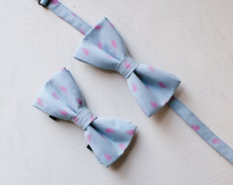 Chambray Nautical Bow Tie Set, Cute Whale Dog Bowtie, Matching Dog and Owner bowties, Men's bowtie, Wedding, Father's Day Gift, Dog Dad Gift