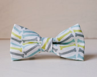 Herringbone Dog Bowtie, Slip on Patterned bowtie for dogs, green blue and grey bowtie, Dog Bone bowtie, gifts for dogs, dog collar bow