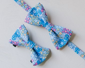 Petite Floral Bow Tie Set — Dog Bowtie, Matching Dog and Owner, Human, Wedding, Father's Day Gift, Dog Dad, Spring Bowtie Set