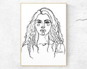 Art Print - quot First We Braided Lines quot by Anna Maria Garza, Minimalist, Native American, Black and White Line Art, Braided Hair, Indigenous