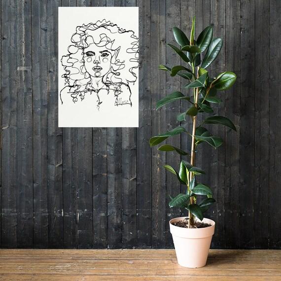 Watercolor Art Salon Art Curly Hair Modern Portrait Fashion Illustration Cinnamon Curls by Anna Maria Garza Art Print Brunette