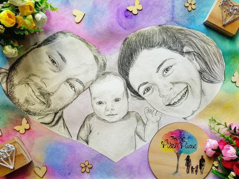 Baby Announcement Baby Drawing Birth Announcement Custom Portrait Pencil Portrait First Birthday Portrait Drawing Newborn Portrait