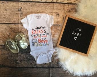 Little Boys Onesie 3-6 Months Rifles and Deer Tracks Are What Little Boys Are Made Of Racks