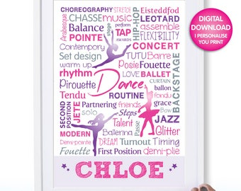 Dance Poster, Digital Download, Typography Art Print, Girl's Room Art, Personalize, Gift for Dancer, Dance Wall Art