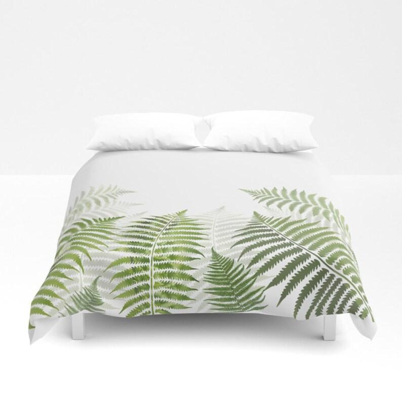 Green And White Duvet Cover Comforter Fern Plant Gift Etsy