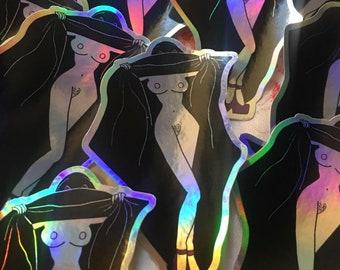 holographic boobies sticker