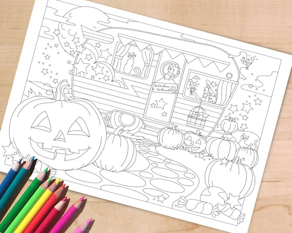 Halloween Coloring Page Witch coloring page Spooky