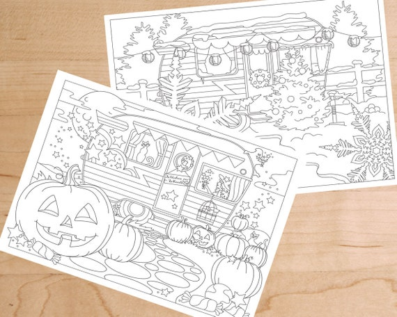 Halloween Christmas Adult Coloring Pages Vintage Camper Witches On Wheels Snowflake Printable