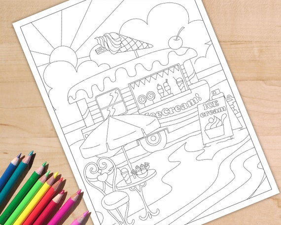 Icecream Truck Coloring Page Adult Coloring Page Rv Etsy