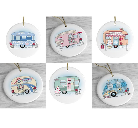 Special Christmas Ornaments.6 Vintage Christmas Camper Ornaments 6 Ornament Pack Special Christmas Tree Decorations Caravan Christmas