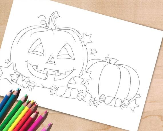 Halloween Coloring Page Halloween Pumpkin Jack O Lantern Etsy