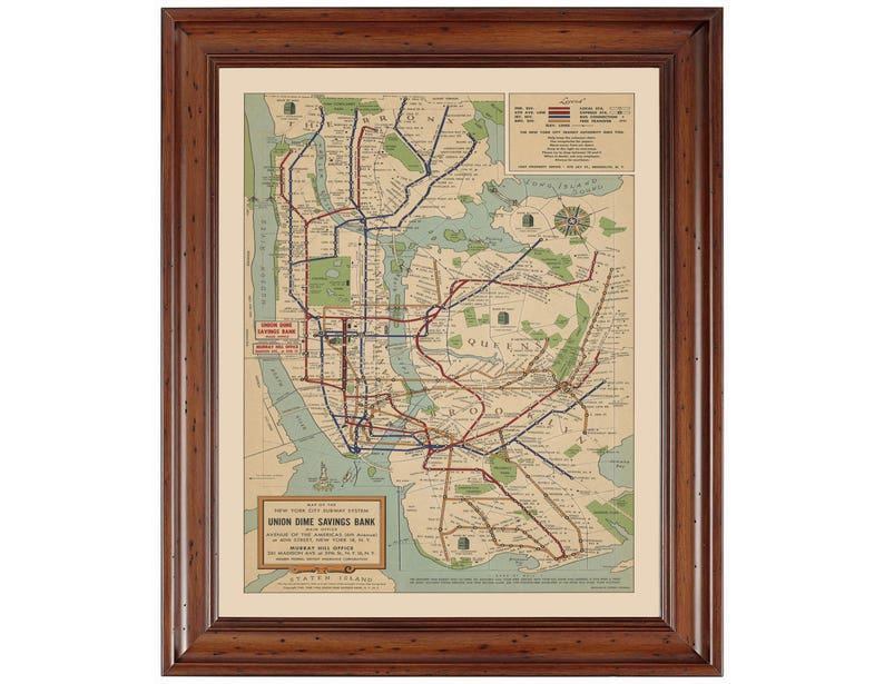 1940 Nyc Subway Map.New York City Subway 1940 Ready To Frame 16 X 20 Gallery Quality Print That Has Been Digitally Restored And Reproduced From A Vintage Map