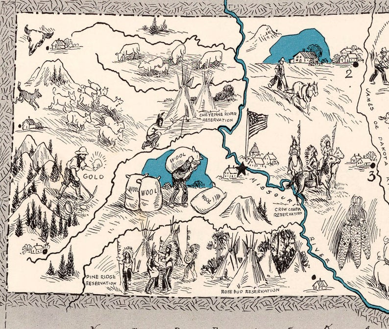 South Dakota Pictorial 1931; Ready-to-frame 16 x 20 print reproduced from a vintage map does not include frame