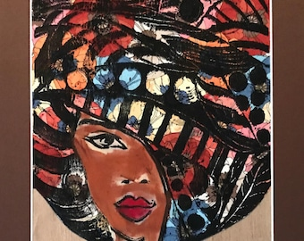 """African Art Original Award-Winning Linoleum Print """"Gwendolyn Rose"""" by Whigene-Taylor Limited Run"""