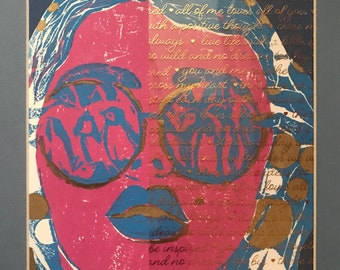 """Original """"Look: Half and Half"""" Hand Made Linoleum Print by Whigene-Taylor Matted"""