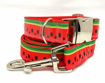 Watermelon Dog Collar and Lead, Matching collar and lead, Melon Collar, Watermelon Dog Accessory