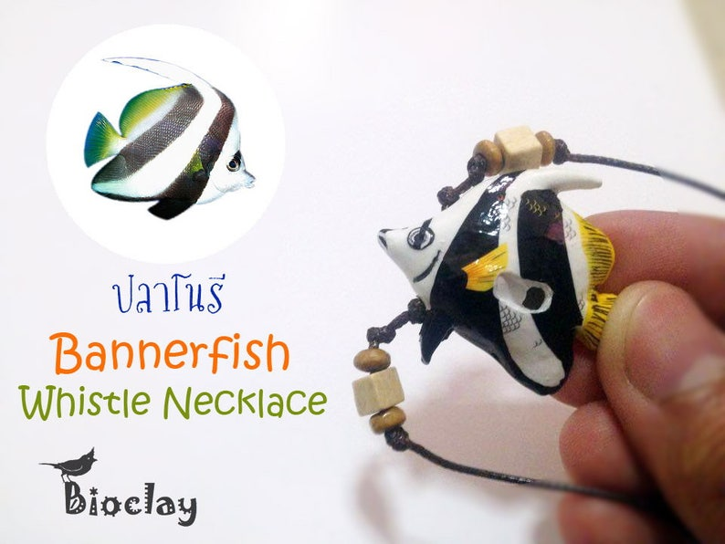 whistle Necklace fish Handmade copper banner fish Fancy fish   Whistle Bio banner fish